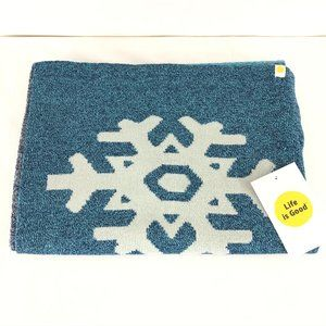 Life is Good Womens Scarf Snowflake Blue Knit